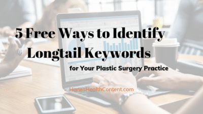Man typing on keyboard to look for longtail keywords for plastic surgery practice.