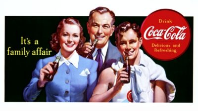 A vintage Coca-Cola ad showing a 1950s family with a Mom, Dad and teenage son