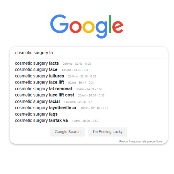 """Screen shot of Google search suggestions for the phrase """"cosmetic surgery facts"""""""
