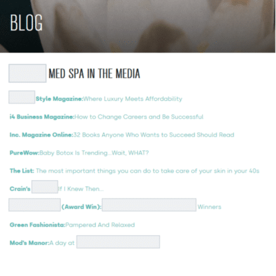 Screenshot of plastic surgery blog that's nothing but a list of media mentions
